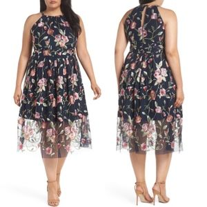 Vince Camuto Floral Embroidered Mesh Halter Dress